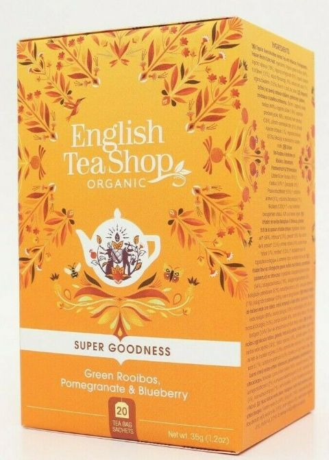 English Tea Shop Herbal Organic Tea - Green Rooibos, Pomegranate & Blueberry